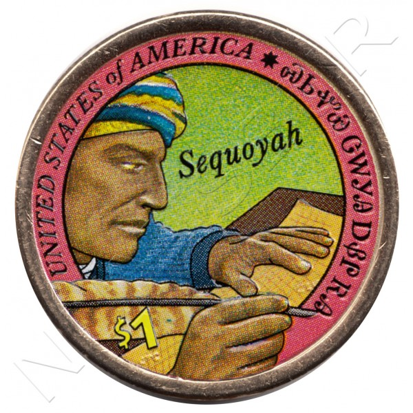 1$ EEUU 2017 - Cherokee Syllabary (COLOR)