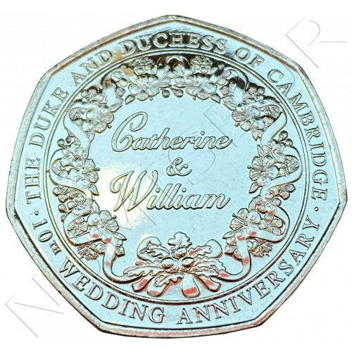50 pence GIBRALTAR 2021 - 10th anniversary Catherine & William