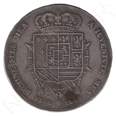 10 liras ITALIA 1807 - Carlos Luis de Borbón y la Regenta Maria Luisa TUSCANY