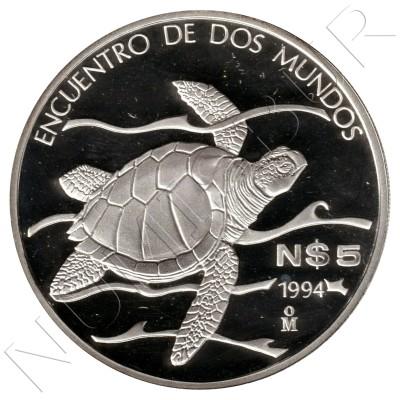 5 pesos MEXICO 1994 - Pacific Ridley Sea Turtle