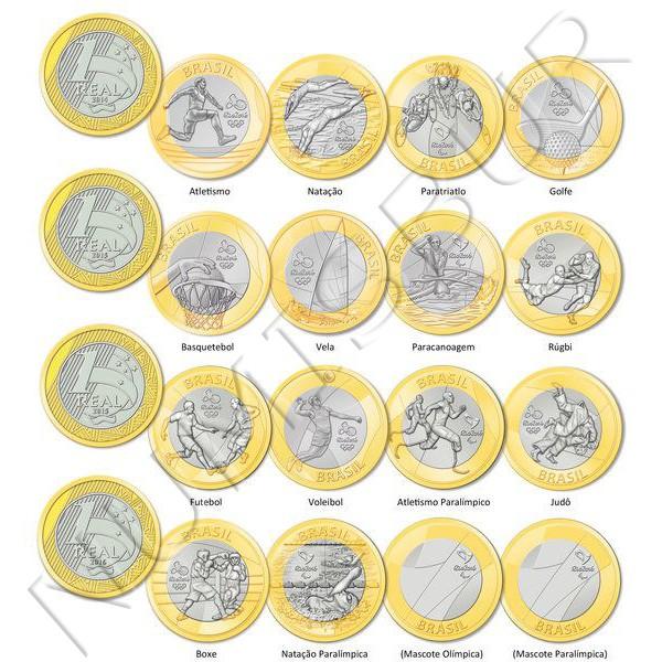 1 real BRASIL 2016 - Olimpiadas Rio (16 monedas)