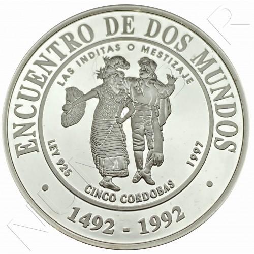 5 cordobas NICARAGUA 1997 -  The Inditas or Mestizaje