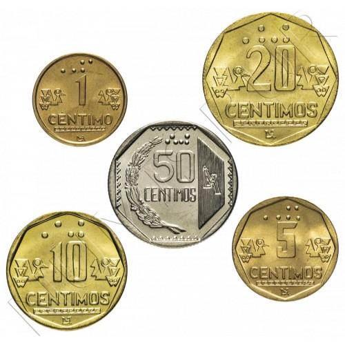"Serie PERU 1994 - 1999 ""Braille"" (5 coins)"