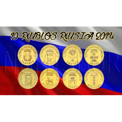 10 rublos RUSIA 2014 - Ciudades de Gloria Militar (COMPLETA)