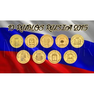 10 rublos RUSIA 2015 - Ciudades de Gloria Militar (COMPLETA)