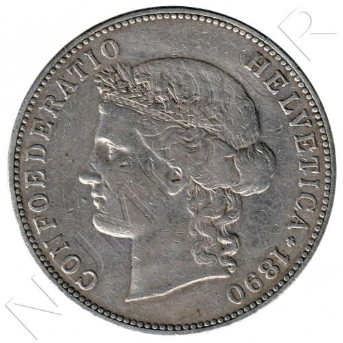 5 francs SWITZERLAND 1890 - B - Helvetica