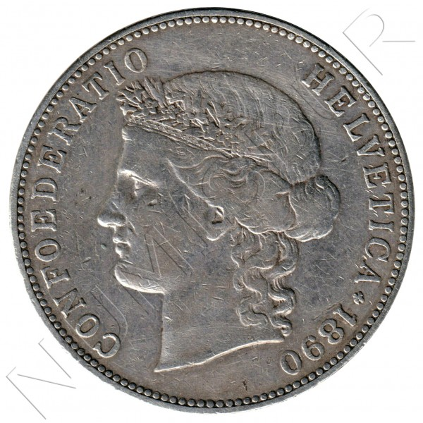 5 francs SWITZERLAND 1890 - B - Helvetica