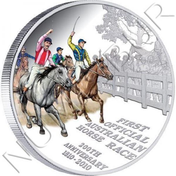 1$ TUVALU 2010 - 200 años de la primera carrera de caballos Australia