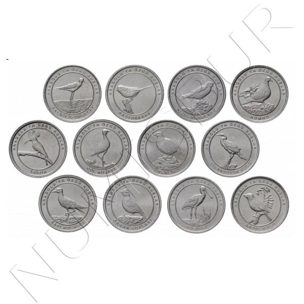 1 kurush TURKEY 2020 - Birds of Antalya (12 coins)