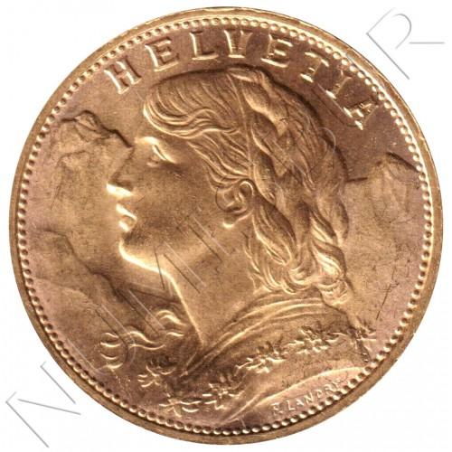 20 francs SWITZERLAND 1925 - B Vreneli - HELVETIA
