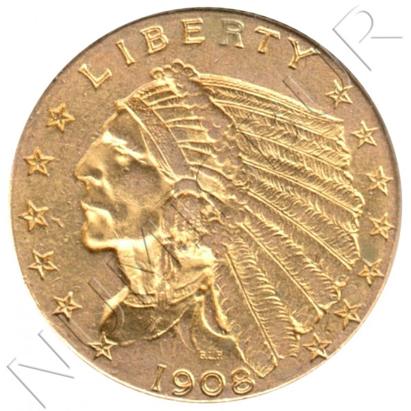 2.5$ USA 1908 - Indian Head / Quarter Eagle