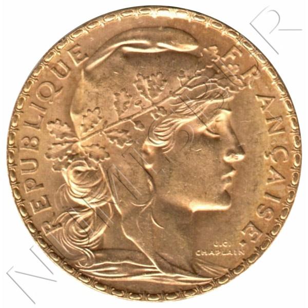 20 francs FRANCE 1909 -  Rooster