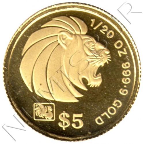 5$ SINGAPUR 1993 - LION ROOSTER PRIVY MARK