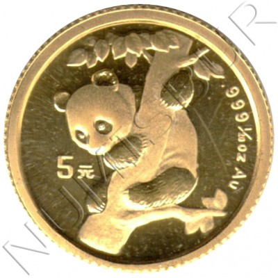 5 yuan CHINA 1996 - PANDA 1/20 oz oro