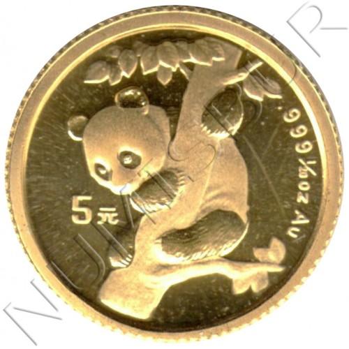 5 yuan CHINA 1996 - PANDA 1/20 oz oro