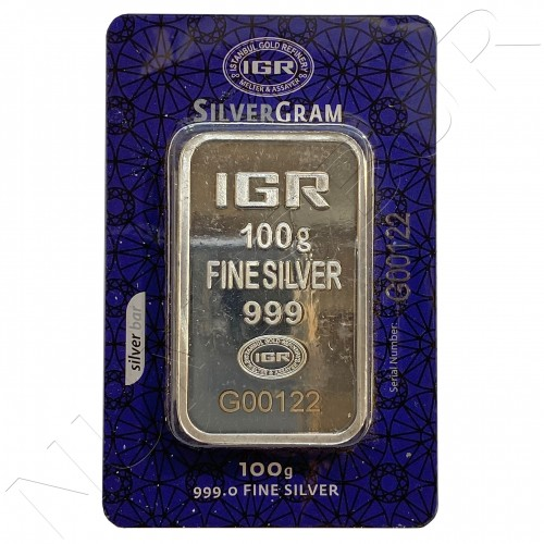 Ingot 100 grams IGR pure silver .999