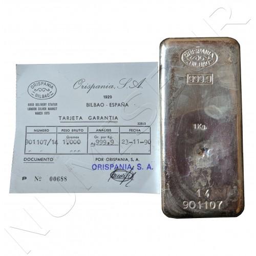 Lingote 1KG plata pura - HISPANIA BILBAO